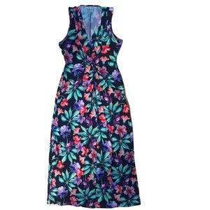 TOMMY BAHAMA FLORAL V NECK SLEEVELESS MAXI DRESS
